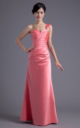 Exquisite Sleeveless One Shoulder Beaded Satin a Line Bridesmaid Dresses
