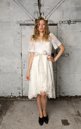 V-Neck Short Sleeve A-Line Knee Length Lace Dress With Bow Sash