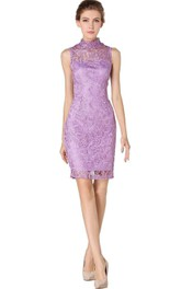 High-neck Short Lace Dress with Floral Detail and Illusion