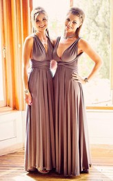 Elegant V-Neck Sleeveless Bridesmaid Dresses 2018 Long Chiffon Floor Length Ruched
