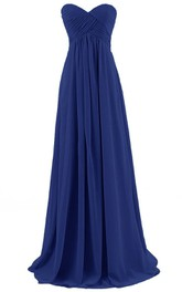 Sweetheart Asymmetrical Ruched Bodice Long Chiffon Dress