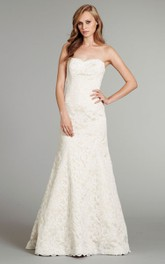 Classic Strapless Floor Length Lace Gown With Scalloping on the Hem