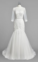 Scoop Neck 3-4 Sleeve Mermaid Lace and Tulle Wedding Dress With Beading
