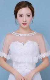 New White Lace Crystal Round Neck Cape-style Shawl