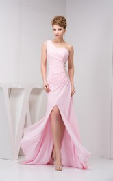 Blushing Front-Split One-Shoulder Sweep Train and Dress With Keyhole