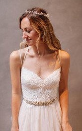 Sweetheart Straps Lace Tulle Wedding Dress with Beading
