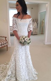 Vintage Bohemian Off The Shoulder Half Long Sleeves Lace Bridal Gown