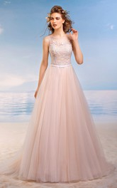A-Line Maxi Scoop Sleeveless Lace-Up Tulle Dress With Appliques And Pleats