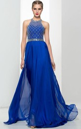Halter Beading Sequins Backless Prom Dres