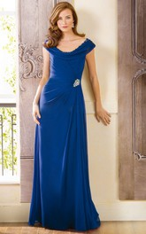 Cap-Sleeved Scoop-Neck Long Mother Of The Bride Dress With Beadings And Illusion Back