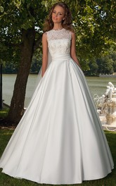 Ball-Gown Lace Jewel Sleeveless Floor-Length Satin Wedding Dress With Lace-Up Back And Bow