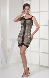 Sleeveless Short Ruched Zipper Back and Dress With Straps