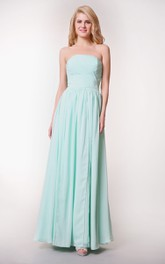 Strapless Ruched Convertible Chiffon Gown With Pleats