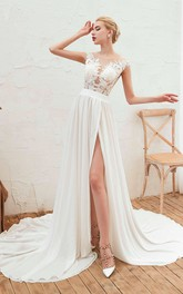 Illusion Lace Appliqued Cap Sleeve Elegant A-line Split Front Chiffon Bridal Gown
