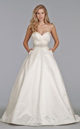 Fantastic Sweetheart Ruched Bodice Satin Ball Gown With Pockets