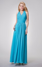 Halter A-line Long Chiffon Dress With Ruched Top