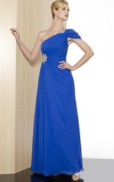A-Line One-Shoulder Floor-Length Ruched Chiffon Formal Dress With Beading And Epaulet