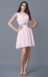 A-line Cap Sleeve Ruched Short Chiffon Dress With Beaded Applique