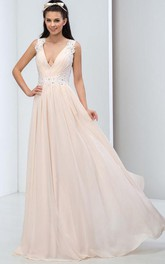 A-Line Deep-V Neck Open Back Appliques Prom Dress
