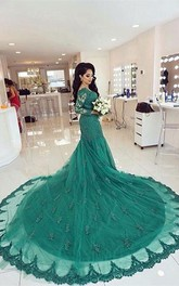 Elegant Lace Appliques Mermaid Evening Dress 2018 Court Train Long Sleeve