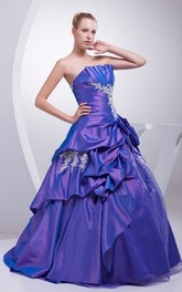 Sleeveless Ruched Pick-Up Ball-Gown With Appliques