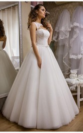 Modern Bateau Sleeveless Tulle Lace Wedding Dress Floor-length Lace-Up