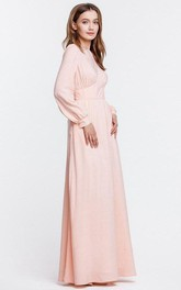 High Neck Long Puff Sleeve Pleated A-line Chiffon Floor Length Dress
