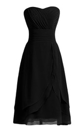 Strapless Layered Chiffon Dress With Zipper Back