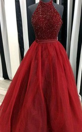 A-Line Ball Gown Tulle Sequins Halter Sleeveless Zipper Dress