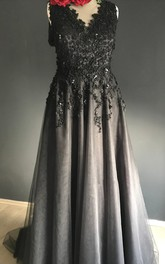 Sheath Black Wedding Dress V-neck Sleeveless Zipper Deep-V Back With  Appliques Lace Sequins