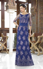 Scoop Neck Appliqued Illusion Sleeve Chiffon Mother Of The Bride Dress