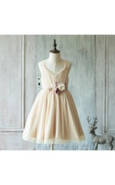 Spaghetti Strap V Neck A-line Pleated Knee Length Tulle Dress With Floral Sash