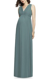 V-neck Ruched Maternity Chiffon Long Bridesmaid Dress