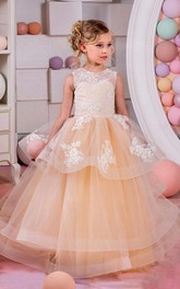 Flower Girl Jewel Neck Layered Organza Ball Gown With Lace Top