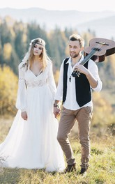 Chiffon Plunging Poet Long Sleeve Bohemian Wedding Dress With Lace Details And Front Split