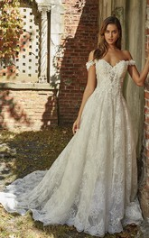 Off-the-shoulder Sweetheart Adorable A-line Wedding Gown With Lace Appliques And Open Back