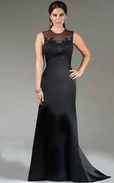 Scoop Neck Sleeveless Satin Long Mother Of The Bride Dress With Applique And Back Keyhole