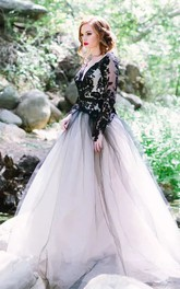 A-Line Lace Tulle V-neck Long Sleeve Floor-length Wedding Dress with Keyhole Back