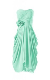 Sweetheart Ruched Drapped A-line Gown With Flowers