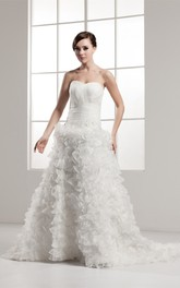 Sweetheart Ruffled A-Line Criss-Cross Gown With Beading