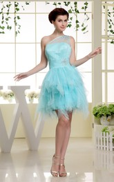 One-Shoulder Tulle Short Ruffled Dress With Beading Illusion Neckline