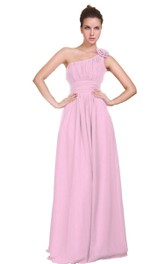 Floral One-shoulder Pleated A-line Dress With Ruched Band