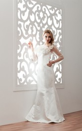 Satin Mermaid Illusion Neckline and Gown With Floral Embellishment