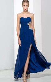 Sweetheart Beading Split-Front Hollow Prom Dress