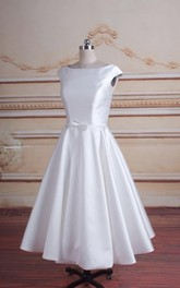 Chic A-Line Satin Short Wedding Dress