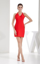 V-Neck Fitted Short Sleeveless Dress With Halter
