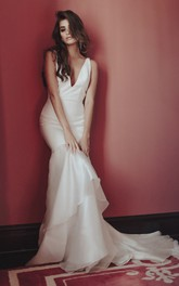 Sexy Deep V-neck Deep V-back Satin Wedding Dress With Tiers