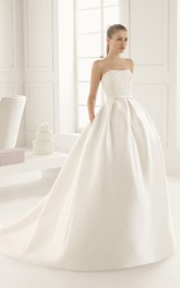 Strapless Embroidery Bodice Ball Gown With Pockets
