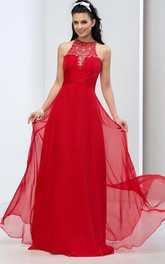 A-Line Halter Sequins Beaded Long Prom Dress