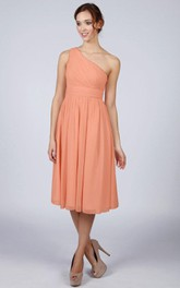 One Shoulder A-line Pleated Chiffon Knee Length Dress Orange